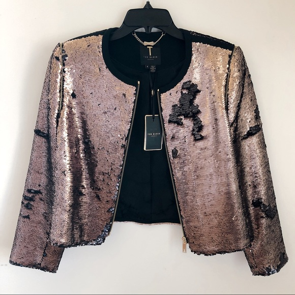 2fcf3486e95aa Ted baker rose gold sequined bomber jacket
